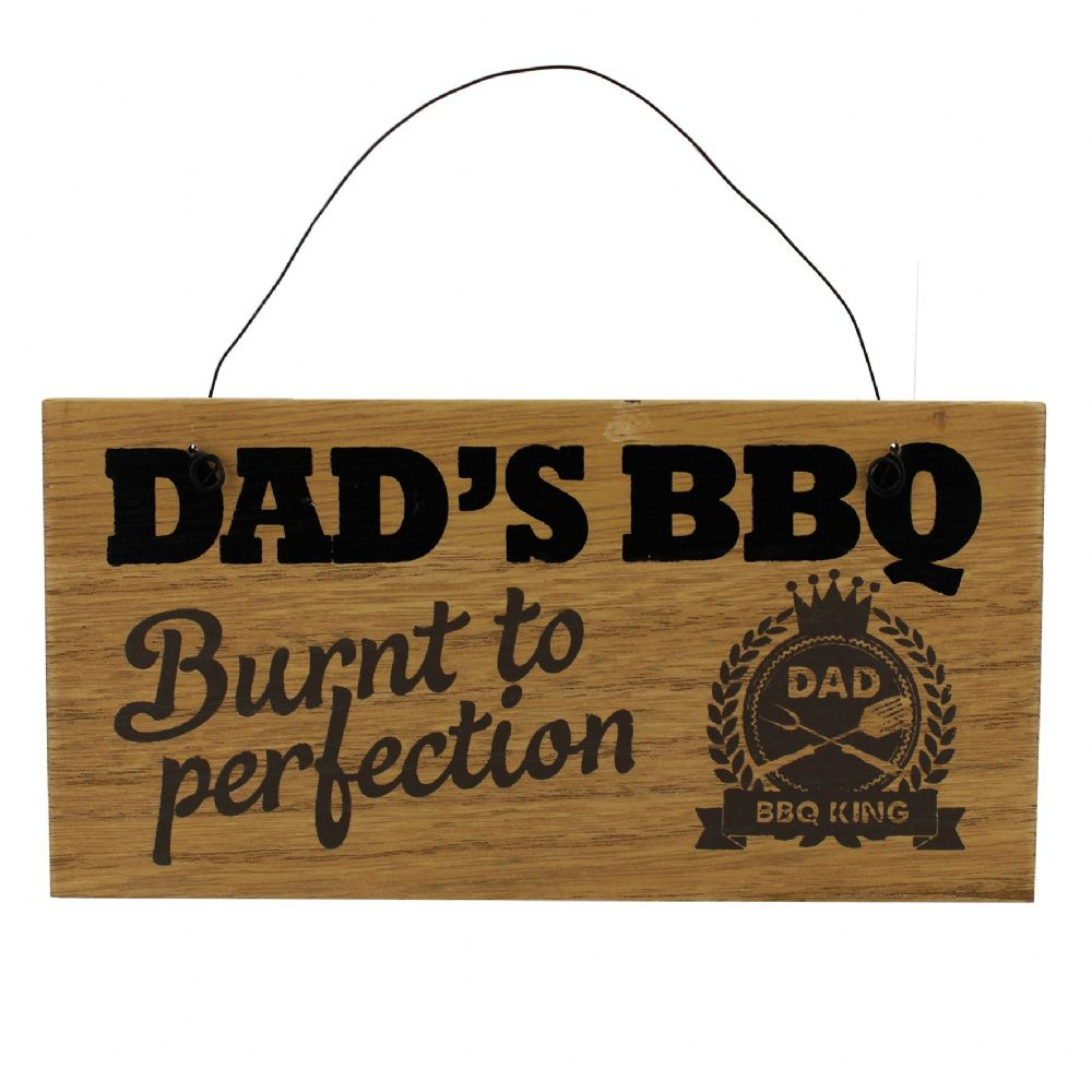 Dad's Barbeque Plaque 'Burnt To Perfection' Funny hanging BBQ sign for Dad's Birthday and Fathers Day Gifts